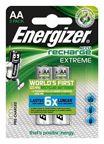 Energizer Accu Recharge Extreme 2300 AA BP2, Acumulador AA/2 SZT, Tamaño Único, Plateado