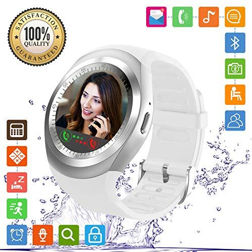 FENHOO Smartwatch Damen Herren Kinder Fitness Armband Sportuhr mit Touchscreen SIM Karte Slot Schrittzähler Anruf Nachricht Uhr Smart Watch Kompatible Samsung Huawei Xiaomi Sony Android ios (Weiß)
