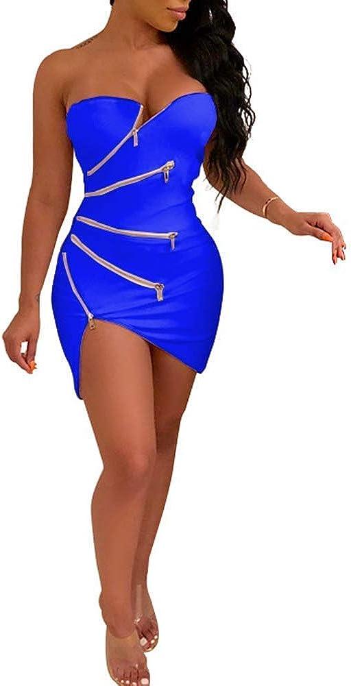 Yeshire Womens Strapless Sexy Zipper Asymmetric Hem Mini Club Bodycon Party Dress