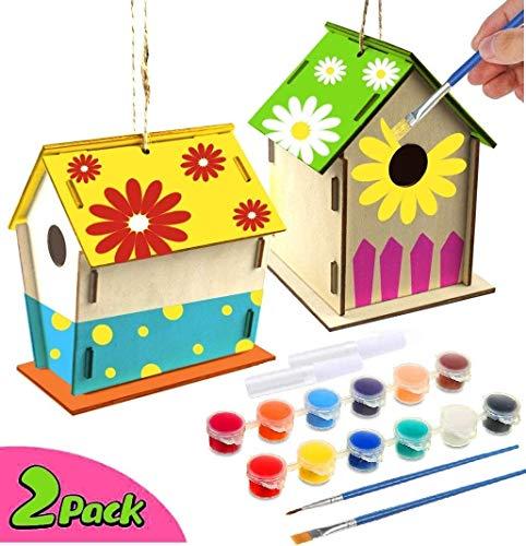 xinxintai Artigianato per Bambini dai 4-8 Anni - Kit Fai da Te per la casa degli Uccelli 2Pack - Costruisci e dipingi Le Casette degli Uccelli in Legno