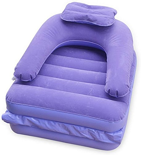 LOUNGER Chaise Gonflable à lit Gonflable 2 et 1 Surface de Flocage Pliable avec Pompe à air à pédale - Violet
