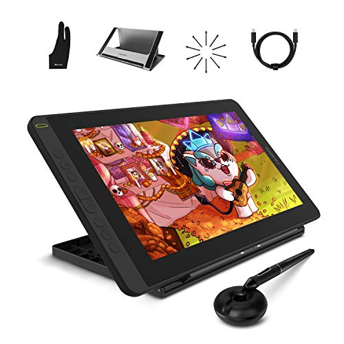HUION 2021 Kamvas 12 Tableta Gráfica con Soporte Ajustable, Monitor de Dibujo Digital HD con Pantalla Laminada Completa, Adecuado para Trabajar Desde Casa y estudiar Distancia y Gaming