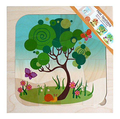 Hess Wooden Toddler Toy 4-Layer Seasons Puzzle