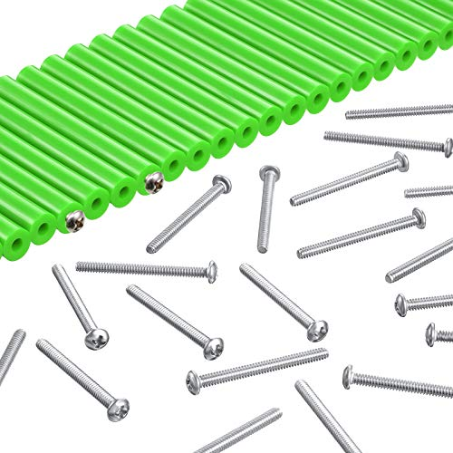 48 Pieces Electrical Outlet Extender Kit Includes 24 Pieces 3 Inch Switch and 24 Pieces 1-1/2 Inch 6-32 Thread Flat Head Device Mounting Extra Long Electrical Outlet Screws (Fluorescent Green)