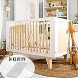 Babybett mit Matratze 60x120 cm höhenverstellbar & herausnehmbare Sprossen | Gitterbett Kinderbett...