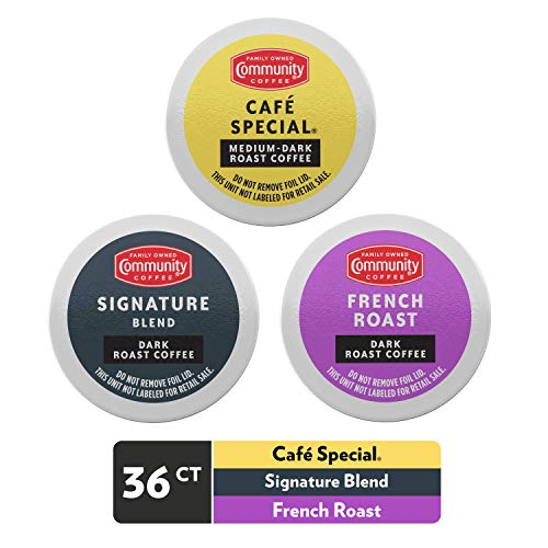 Community Coffee Dark Roast Lover Variety Pack, 36 Count Coffee Pods Compatible with Keurig 2.0 K-Cup Brewers (12 Count, Pack of 3)