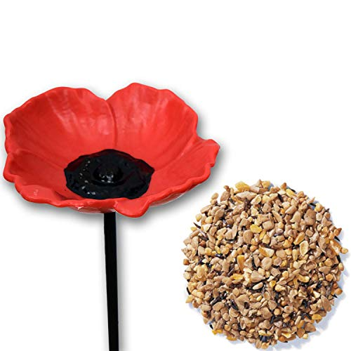 3 x Handy Home and Garden Poppy Wild Bird Feeder Water Bowl Bath with 1KG Bag of Mixed Seed Feed