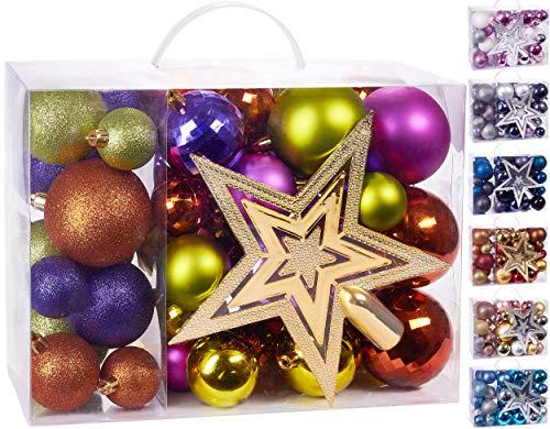 BRUBAKER Juego de 50 Piezas de Bolas navideñas con la Copa del árbol - Decoraciones de árbol de Navidad de Colores en Verde púrpura Naranja