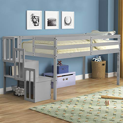 Recaceik Twin Low Loft Bed with Staircase, Wooden Low Loft Beds for Kids Toddler with Two Step Stairs Storages Shelves No Box Spring Required, Easy Assemble