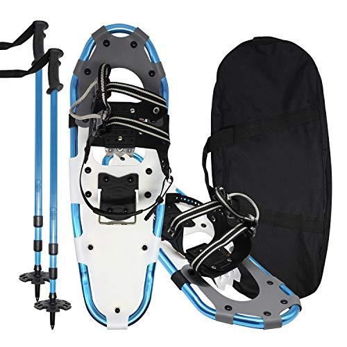 Jolitac 25inch Schneeschuhe Set Eisschuhe Schnee Wanderschuhe inkl. 2 verstellbare Wanderstöcke und Tragetasche, bis 78kg für Frauen und Männer, Perfekt für Winter Alpinwandern Blau