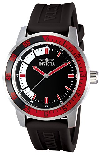 Invicta Men's Specialty 45mm Stainless Steel Quartz Watch with Black Silicone Band, Black/Red (Model: 12845)
