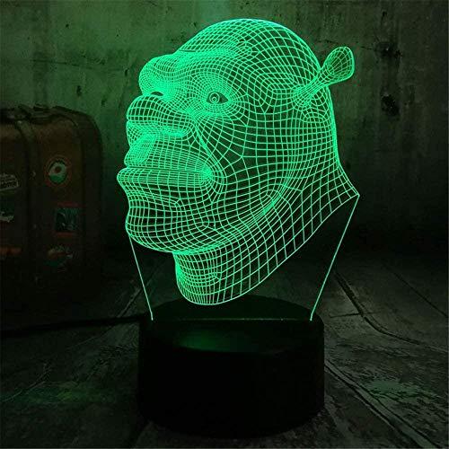 Effect Shrek Forever - Lámpara de noche 3D para niños, lámpara de noche 3D, 16 colores cambiantes acrílico LED luz nocturna para niños niñas cumpleaños o regalo