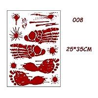 ハロウィン ウィンドウステッカ ホラー血の手作りの足跡指紋ハロウィーンステッカー壁窓の床の装飾ホラー血のステッカーのお化けハウスの装飾 (Color : 008)