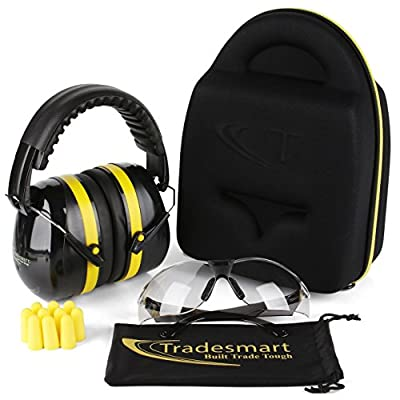TRADESMART Ear Muffs, Earplugs and 2PK Adjustable Gun Safety Glasses with Case - UV400 and Anti Fog Eye Protection
