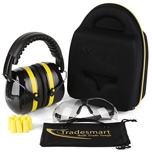 TRADESMART Shooting Ear Muffs, Protective Case, Gun Safety Glasses & Earplugs - UV400 Anti Fog & Anti Scratch with Microfiber Pouch | Gun Range Ear Protection & Eye Protection for Shooting