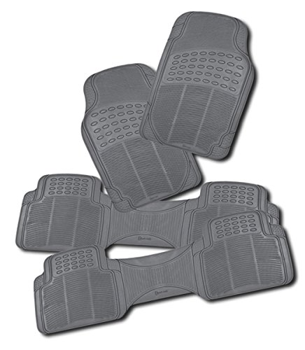 Zento Deals 4-Piece Gray Universal Fit Trimmable Premium Quality Full Rubber-All Weather Heavy Duty Vehicle Floor Mats