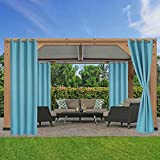 LORDTEX Waterproof Indoor/Outdoor Curtains for Patio - Thermal Insulated, Sun Blocking Blackout Curtains for Bedroom, Porch, Living Room, Pergola, Cabana, 52 x 84 inch, Teal, Set of 2 Panels
