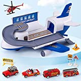 Tabiger Transport Cargo Airplane Car Toys Set for Kids Boys Girls Child Birthday Gift Construction Cargo Airplane Vehicle Toy Set Plane Toys Cars for 3 4 5 6 Years Old