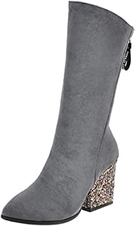 RAZAMAZA Women Retro High Heels Mid Boots Zipper Party Shoes