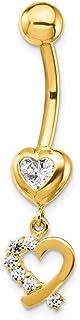 7.65mm 14ct Circonita 2-hearts Dangle Belly Ring