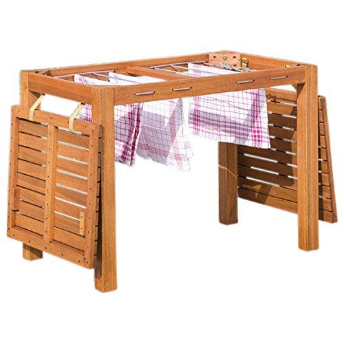 gartenmoebel-einkauf Balkontisch mit Wäscheständerfunktion 100x60cm, Eukalyptus Holz