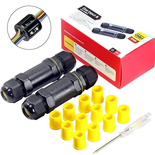 Kabelverbinder Wasserdicht IP68 Verbindungsbox Verbindungsmuffe 5-polig für Ø4-14mm Kabeldurchmesser 2er-Pack schwarz