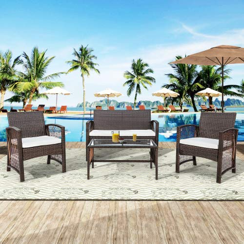 4 Pieces Outdoor Furniture Rattan Chair & Table Patio Set Outdoor Sofa for Garden, Backyard, Porch and Poolside, Brown