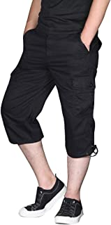 Men Shorts and Tights 3/4, Male Fashion Outdoor Sports Multi-Pocket Overalls Pants Trousers