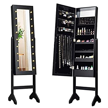 Giantex Standing Jewelry Armoire with 18 LED Lights Around the Door Large Storage Mirrored Jewelry Cabinet with Full Length Mirror 16 Lipstick Holder 1 Inside Makeup Mirror  Black