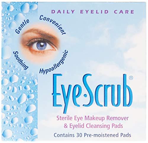 Eye Scrub Sterile Eye Makeup Remover & Eyelid Cleansing Pads 30 Ea (Pack of 3) - (Total of 90 Pads) by Eye Scrub