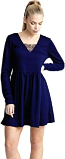 CHOCOLATE PICKLE Ladies Plus Size Plain Long Sleeve V-Neck Lace Band Flared Skater Dress 16-22