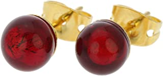 Murano Glass Tiny Stud Earrings - Ruby Red
