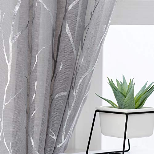 Kotile Grey Sheer Curtains with Tree Pattern - Metallic Silver Branch Artistic Design Grommet Sheer Curtains 84 Inch Long Light Filter Privacy Voile Drapes, 52 x 84 Inch, 2 Panels, Gray