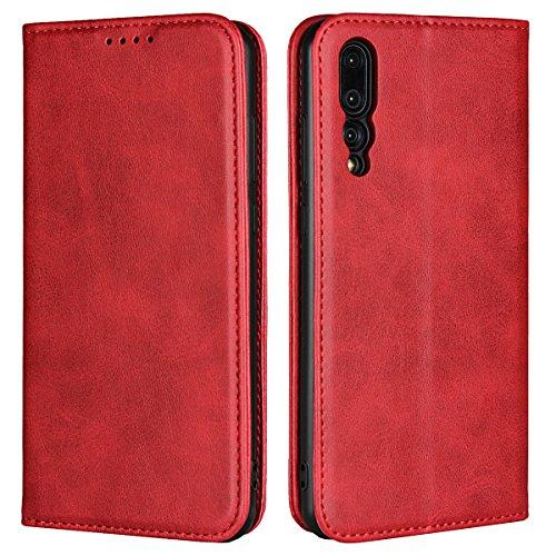 Copmob Huawei P20 Pro hülle,Premium Flip Leder Geldbörse mit weichem TPU-Shock Absorption,[3 Kartensteckplatz][Ständerfunktion][Magnetschnalle] - Rot