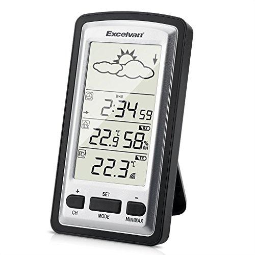 Excelvan WH1281- Estación meteorológica inalámbrica digital con monitor de temperatura interior / exterior para jardín, color negro y plateado