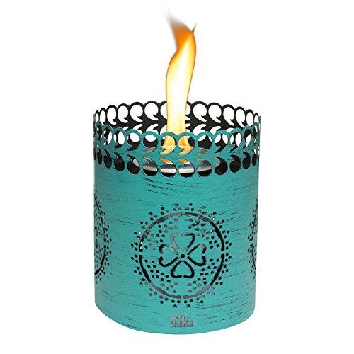 TIKI Brand 6' Clean Burn Flame Shield Tabletop Torch Lantern, Teal