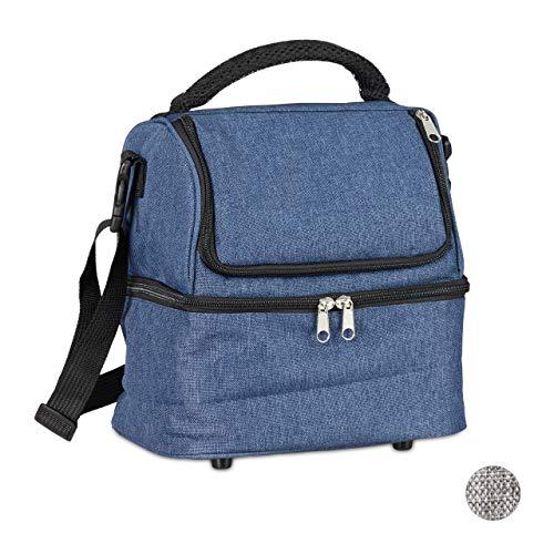 Relaxdays Unisex– Erwachsene Kühltasche faltbar, Picknicktasche mit Isolierung, 10 L, mit Tragegurt & Griff, Isoliertasche 2 Fächer, blau, 1 Stück
