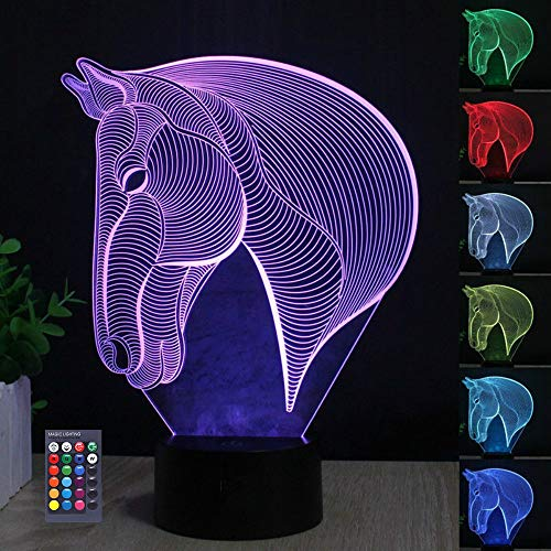 3D Horse Head Illusion Lamp, 3D Night Light for Boys Girls Table Desk Lamp 7 Color Changing Home Decoration Acrylic LED Art Sculpture Lights with Remote Control - Perfect Gifts for Birthday Festival