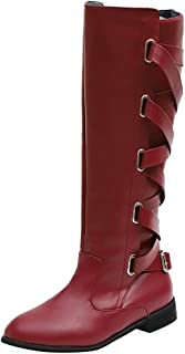 Knee High Boots for Women Wide Calf,Low Heel Boots Zipper Closure with Buckle Fashion Retro Riding Boots