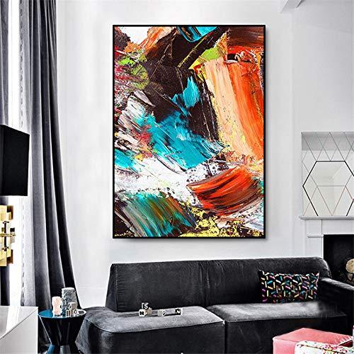 Geiqianjiumai Große Bunte Leinwand Moderne abstrakte Wohnzimmer Schlafzimmer Esszimmer Dekoration Wandkunst rahmenlose Malerei 60X70cm