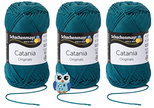 Schachenmayr Catania Wolle 3x50 Gr, 100% Baumwolle + 1 Eulen Knopf (Farbreihe 300-399) (391 Petrol)