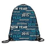 uykjuykj Coulisse Sacchetto,Zaino Coulisse Sacchetto, Marine Inhabitants Sackpack Drawstring Backpack Waterproof Gymsack Daypack for Men Women Happy New year7 Lightweight Unique 17x14 in