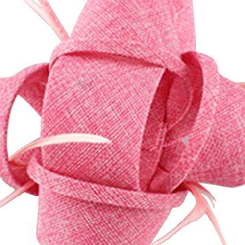 FHKGCD Señoras Iglesia Fiesta Fascinator Flor Pluma Sombrero Fiesta De Boda Tocado De Malla Accesorios para El Cabello De La Boda Nupcial, Rosa Bebé,