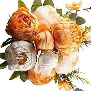 Floralsecret Artificial Silk Peony Flowers Bouquet Vintage Fake Flower Home Wedding Decor(Spring Orange White)
