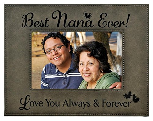 Nana Picture Frame Gift - Engraved Leatherette Glass Photo Frame -...