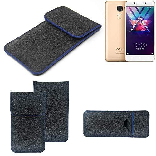 K-S-Trade Handy Schutz Hülle Für Coolpad Cool S1 Schutzhülle Handyhülle Filztasche Pouch Tasche Hülle Sleeve Filzhülle Dunkelgrau, Blauer Rand