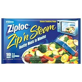 Ziploc Zip  n Steam Meal Prep Bags For Cooking and Steaming Food Microwave Safe Medium 10 Count