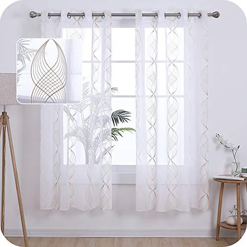 UMI. by Amazon 2 Stück Gardinen Leinenoptik Transparent Ösenvorhang Vorhangschals mit Wellen Stickerei 175x140 cm Leinen