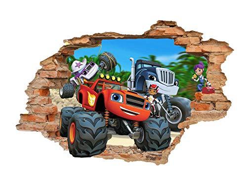 QAW Pegatinas de pared'Etiqueta de la pared Blaze and Monster Machines 3D, etiqueta de la pared, etiqueta de la pared, etiqueta de vinilo extraíble'