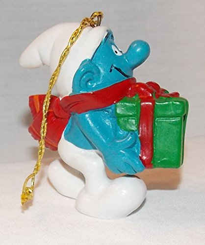 1981 Vintage 2.25' Smurf with Green Present PVC Christmas Ornament